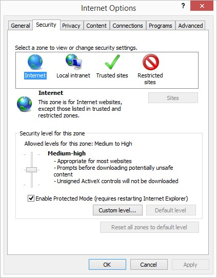 IE security settings tab
